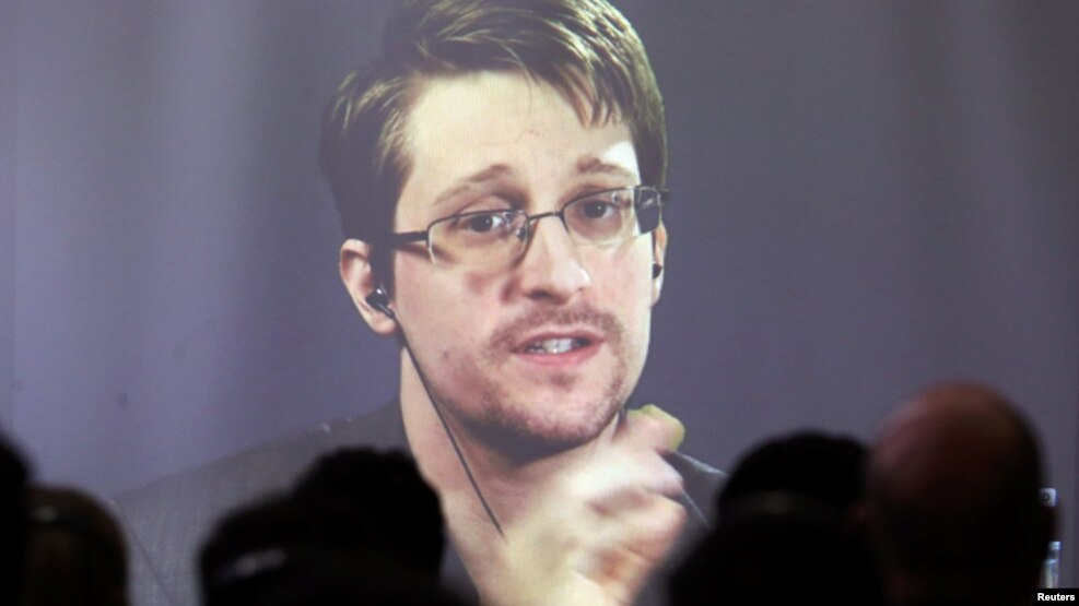 Edward Snowden speaks via video link during a conference at the University of Buenos Aires Law School in November.
