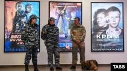 Security staff outside a preview screening of the new big-budget movie Crimea in Novosibirsk late last month.
