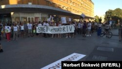 Protest podrške RTV-u, Novi Sad, 4. jul 2016.