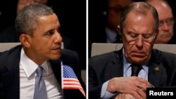 U.S. President Barack Obama (left) and Russia's Foreign Minister Sergei Lavrov are seen in this combination photo as they attend the opening ceremony of a Nuclear Security Summit (NSS) in The Hague in March 2014.