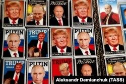Сувенирные магниты с изображениями Трампа и Путина