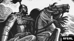 Иллюстрация к эпосу «Манас». Художник Теодор Герцен.