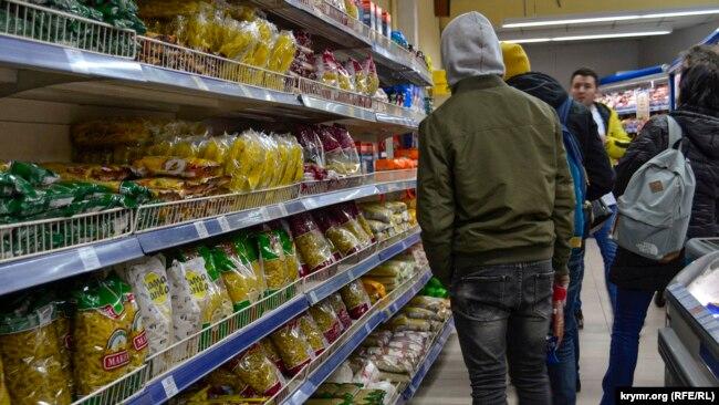 Супермаркет в Ялте, 17 марта 2020 года