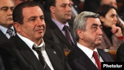 Armenian President Serzh Sarkisian (right) and Gagik Tsarukian, leader of the Bargavach Hayastan Party, in Yerevan in March