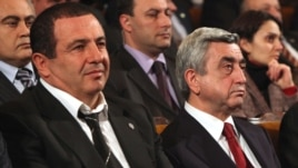 Armenia - President Serzh Sarkisian (R) and Prosperous Armenia Party leader Gagik Tsarukian attend a party conference in Yerevan, 3Mar2012.