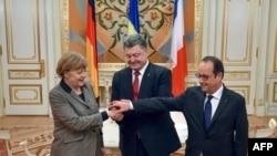 Меркел, Порошенко, Олланд Киевде. 5-февраль, 2015-жыл.
