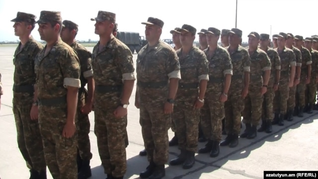 Armenia - Armenian troops depart to Kosovo at a ceremony in Yerevan, 6Jul2012.