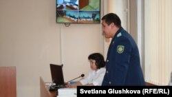 Государственный обвинитель по делу гражданского активиста Махамбета Абжана. Астана, 16 октября 2017 года.
