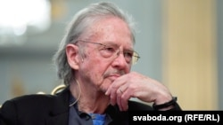 Peter Handke attends a news conference at the Swedish Academy in Stockholm, Sweden, on December 6.