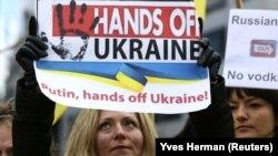 Protest la Bruxelles împotriva anexării peninsulei Crimeea, martie 2014