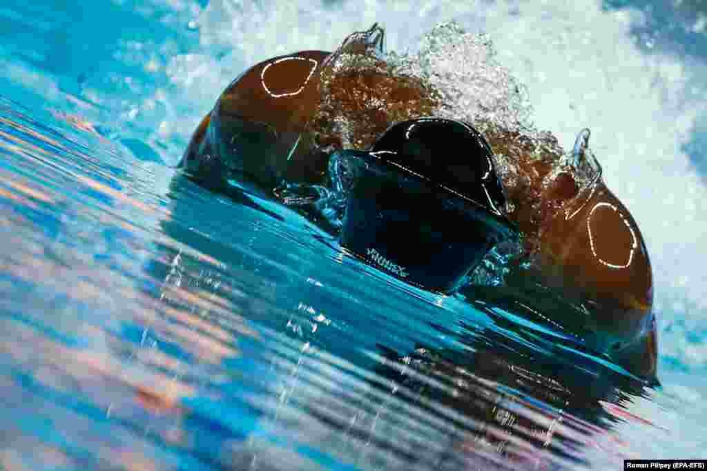 Cherantha de Silva from Sri Lanka competes in the Men's Butterfly 100-meter heats during the FINA Swimming Short Course World Championships in Hangzhou, China, on December 12. (epa-EFE/Roman Pilipey)