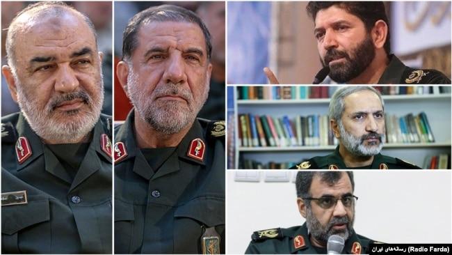"The commander of IRGC's Central regional HQ ""Sarallah"", Hossein Salami, his deputy Mohammad Kousari, and provincial deputies Mohammadreza Yazdi (the Capital), Hassan Hassanzadeh (Tehran), and Yousef Molaei (Alborz)."