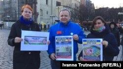 Учасники акції до Дня соборності у Празі, 21 січня 2018