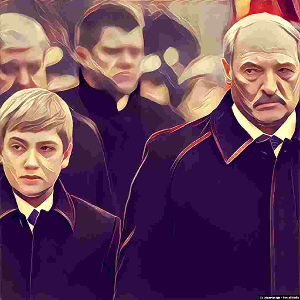 Belarus - poltiicians portraits original and edited by Prisma application