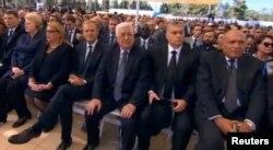 Президент Палестини Махмуд Аббас (в центрі) на церемонії поховання колишнього президента Ізраїлю Шимона Переса. Єрусалим, 30 вересня 2016 року