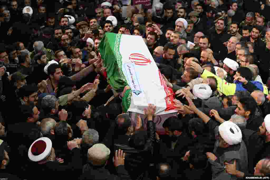 Mourners carried the casket of slain Quds Force commander Qasem Soleimani through the streets of the Iranian capital, Tehran. Several major streets were closed to accommodate hundreds of thousands of people.