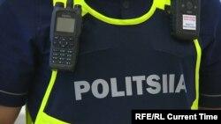 Казакстан полициясынын жаңы формасындагы жазуу.