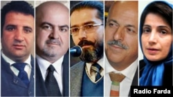 Five Iranian lawyers who are under judicial pressure in Iran; (LTR) Mohammad Najafi, Arash Keykhosravi, Amirsalar Davoudi, Ghasem Sholeh Sadi, and Nasrin Sotoodeh.