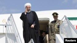 حسن روحانی، رئیسجمهوری ایران، هنگام ورود به شهر زوریخ در سوئیس