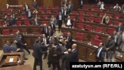 Armenia -- Pro-government and opposition deputies brawl on the parliament floor, Yerevan, May 8, 2020.