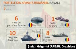 Forțele Navale: dragoare și puitoare de mine, nave logistice
