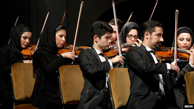 The Tehran Symphony Orchestra performs at the 27th Fajr International Music Festival in Tehran in February 2012.