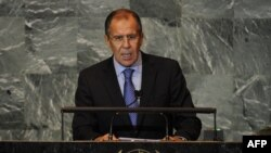 Russian Foreign Minister Sergei Lavrov addresses the 66th General Assembly at the United Nations in New York on September 27.