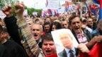 Demonstrant drži fotografiju Vladimira Putina, Banjaluka, 2016.