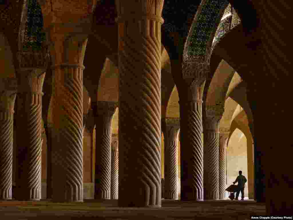 The Vakil Mosque in Shiraz attracts a slow trickle of visitors. Although tourism is on the increase, Western tourists make up only 10 percent of the total. One tour guide told Chapple that Westerners are scared away by the Iranian government's fierce rhetoric.