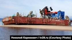 Понтоны, пострадавшие при взрыве в Неноксе (Россия)