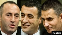 A combo photo shows Ramush Haradinaj (left), Lahi Brahimaj (center), and Idriz Balaj during the verdict reading in The Hague on November 29