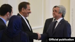 Armenia - Armenian President Serzh Sarkisian (R) receives First Vice-President of Iran Eshaq Jahangiri, 15 Oct, 2015