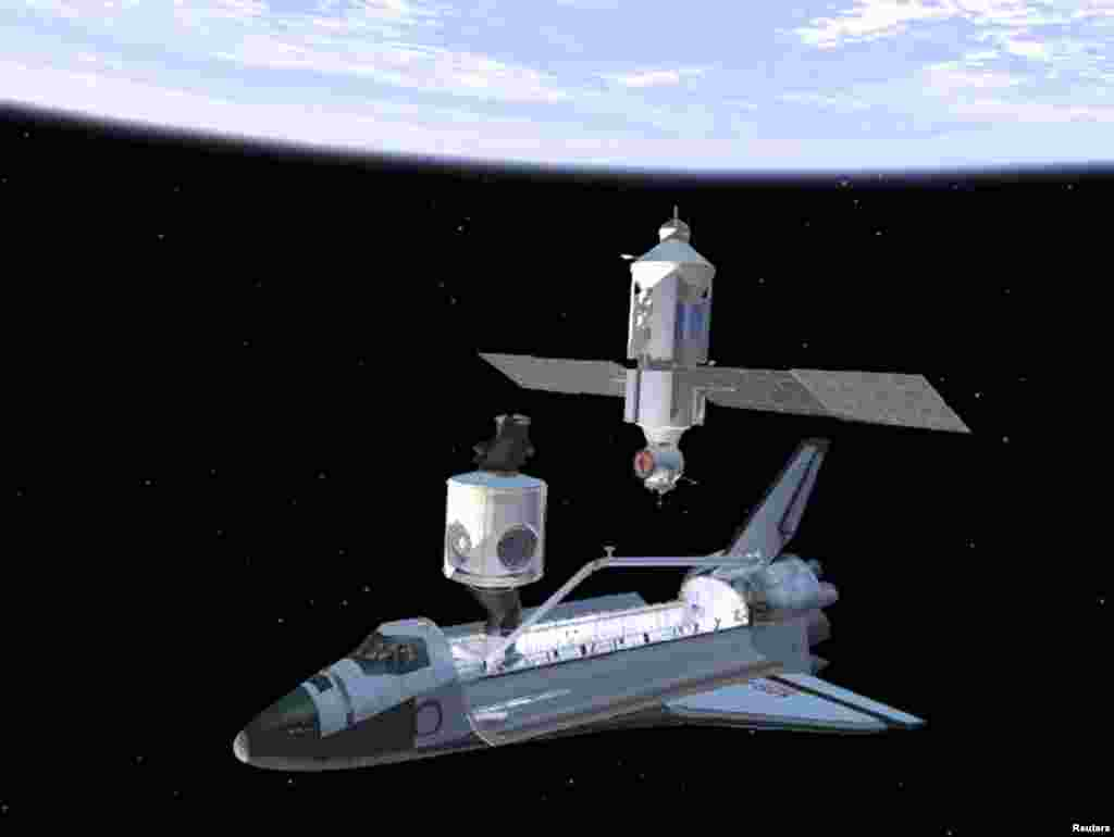 "This artist's rendering shows the deployment of the ""Unity"" module, the connecting segment for the International Space Station (left) and the space shuttle ""Endeavour,"" as astronauts prepare to join it with the Russian-built ""Zarya"" (above)."