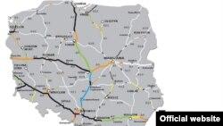 Карта будівництва Польщею доріг до Євро-2012. Колір чорний – автобани, будівництво яких завершене. Колір помаранчевий – починаються будівельні роботи. Інші кольори – продовжуються адміністративні процедури, будівництво має бути завершене до 2012 року.
