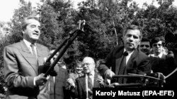 Угорський міністр закордонних справ Дюла Горн (праворуч) і його австрійський колега Алоїс Мок перерізають колючий дріт на угорсько-австрійському кордоні, руйнуючи «залізну завісу». Фертокарош, червень 1989 року