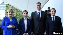 Nemačka kancelarka Angela Merkel, srpska premijerka Ana Brnabić, predsednik Srbije Aleksandar Vučić i prvi čovek Francuske Emanuel Makron, Berlin