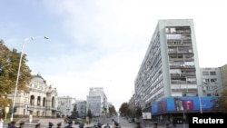Украина, Киев, сотрудники правоохранительных органов блокируют центр столицы, 24 августа 2011.