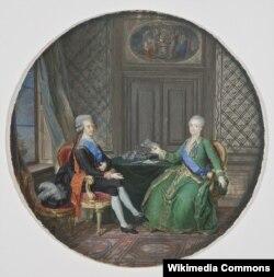 Густав III и Екатерина II в 1783 году. Миниатюра Корнелиуса Хойера