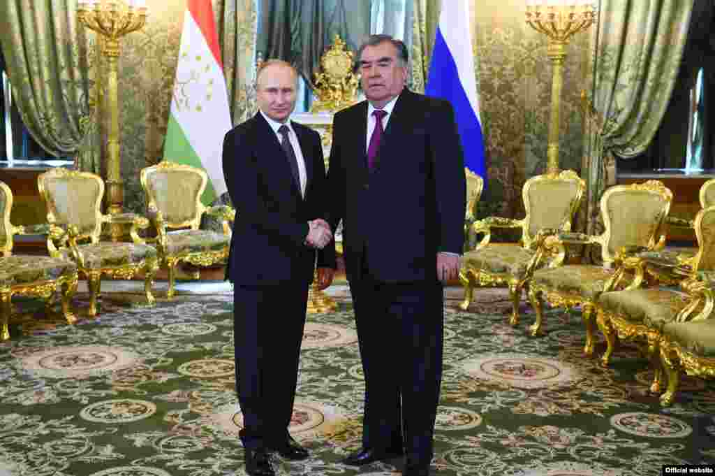 RUSSIA -- Russian President Vladimir Putin meets with his Tajik counterpart Emomali Rahmon at the Kremlin in Moscow, April 17, 2019