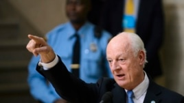 UN envoy to Syria Staffan de Mistura at the opening of Syrian peace talks at the United Nations offices in Geneva on January 29.