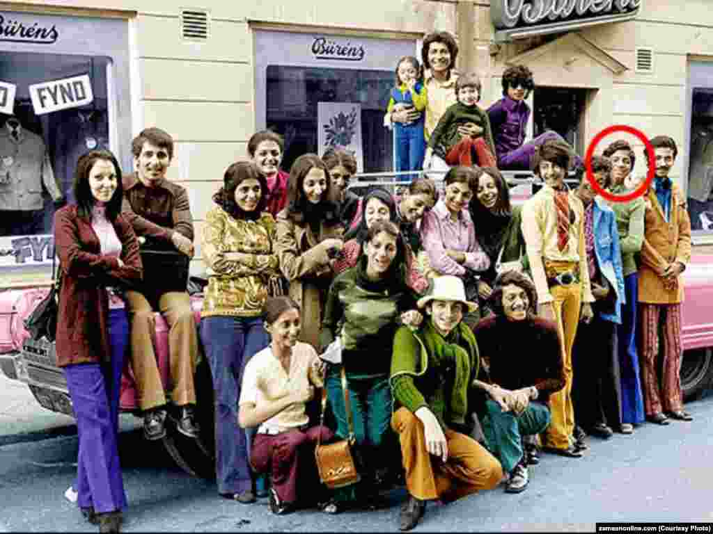 A young Osama bin Laden at age 15 with 22 of his siblings in Sweden in 1971.