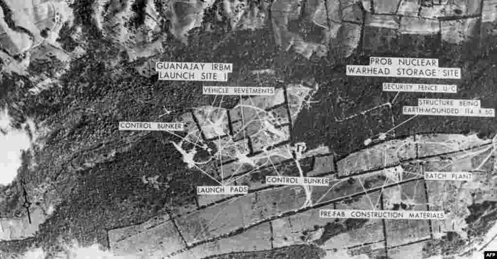 U.S. aerial reconnaissance in October 1962 produced aerial views of medium-range missile bases on Cuba, confirming the most hawkish U.S. concerns.