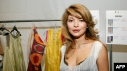 Gulnara Karimova poses backstage at a fashion show at New York's Lincoln Center on September 10, 2010.
