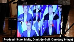 "Predsednik Srbije Aleksandar Vučić, mađarski premijer Viktor Orban i njegov slovenački kolega Janez Janša, učestvuju na webinaru ""Evropa bez cenzure"" (8. jul 2020.)"