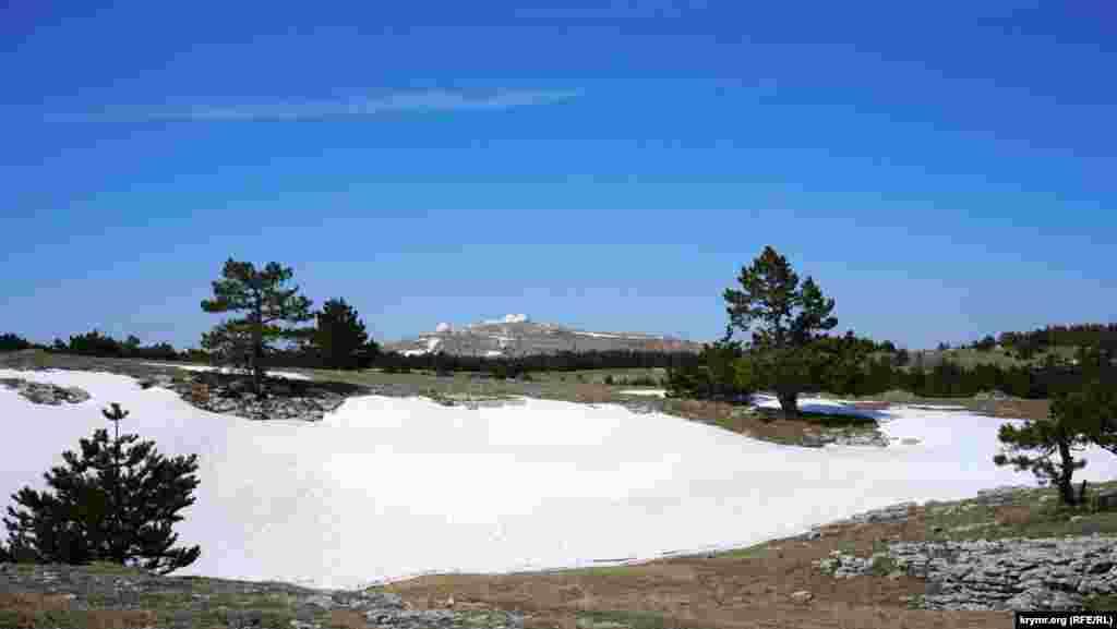 В Ялте столбик термометра показывал +15, плато Ай-Петри почти всецело находилось в снежном плену.