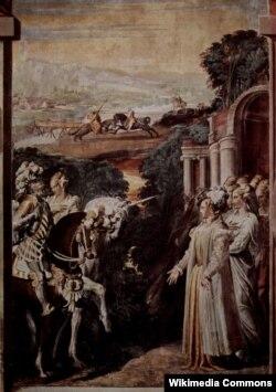 Никколо дель Аббате. Альцина встречает Руджеро. Фреска на холсте. Около 1550