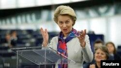 Președinta Comisiei Europene Ursula von der Leyen adesându-se Parlamentului European la Strasbourg