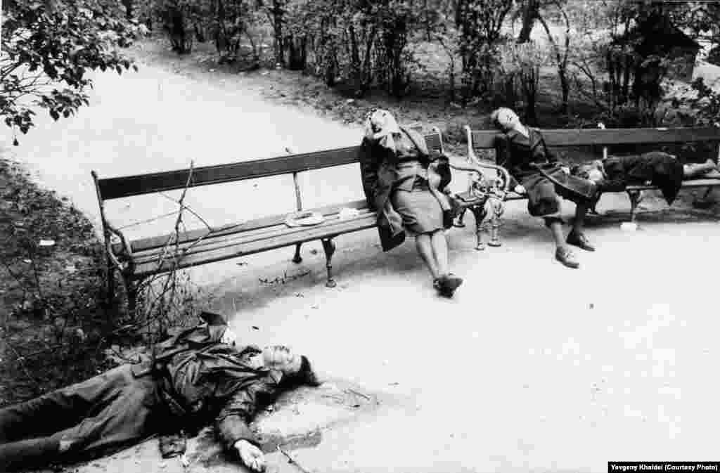 На этой венской фотографии Халдея, по его словам, запечатлены люди, погибшие в результате коллективного самоубийства. По мере продвижения союзников внутрь нацистской территории такие самоубийства становились все более частым явлением.
