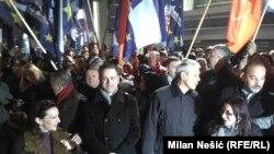 Neki od predstavnika opozicije na protestu ispred RTS-a