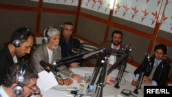 "Guests take part in a discussion on ""On The Waves of Freedom"" in Radio Azadi's studio in Kabul."